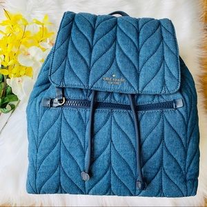 KATE SPADE ELLIE LARGE FLAP BACKPACK DENIM QUILTED